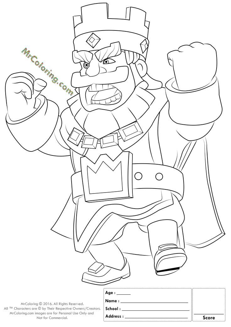 Printable Red King Clash Royale Online Coloring Pages 1 | Clash Of ...