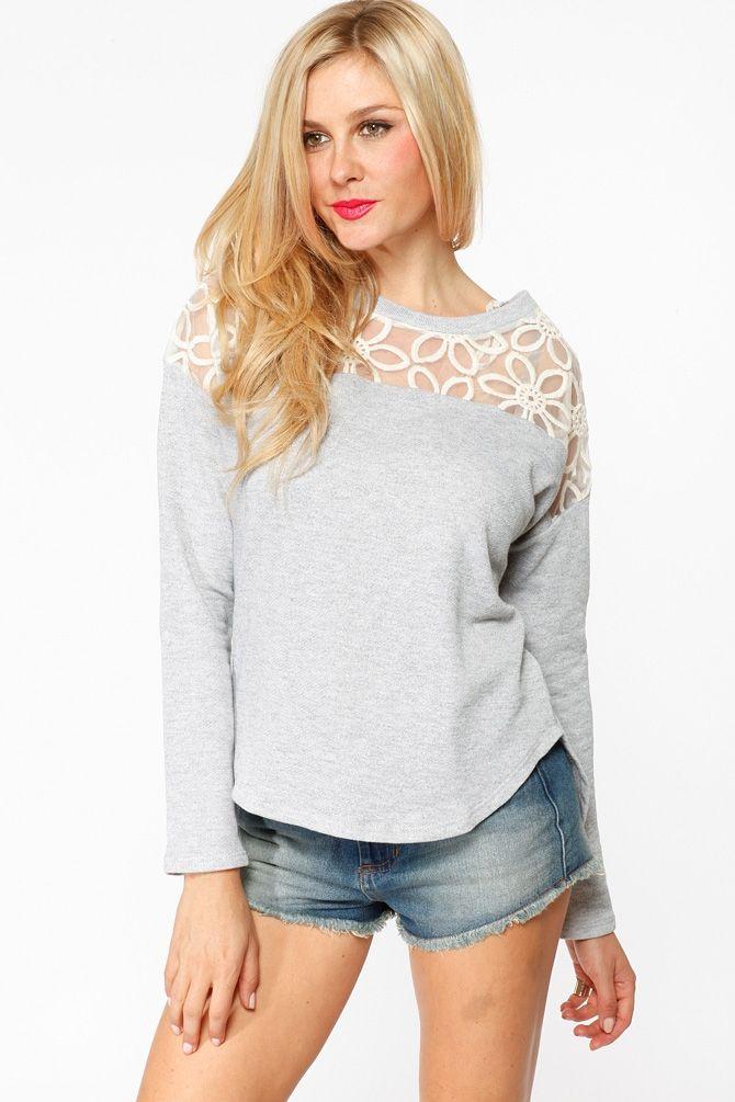 cce6befcfa4 Grey Daisy Lace Sweater   Cicihot Clothing