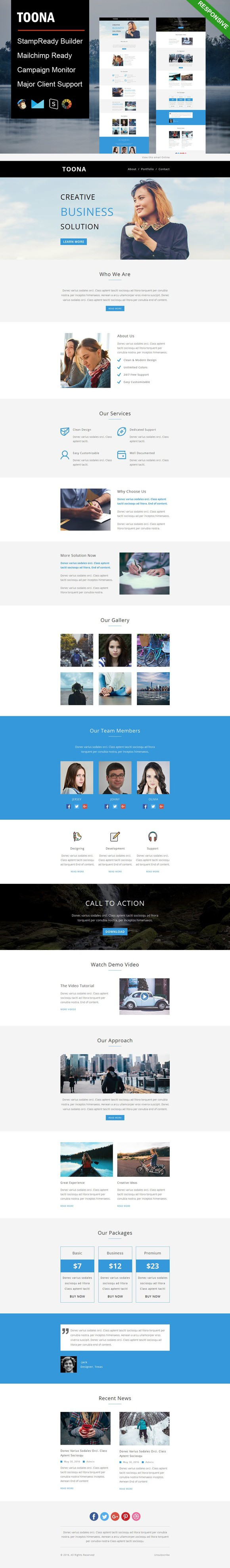 Toona Responsive Email Template Pinterest Responsive Email - Eblast template