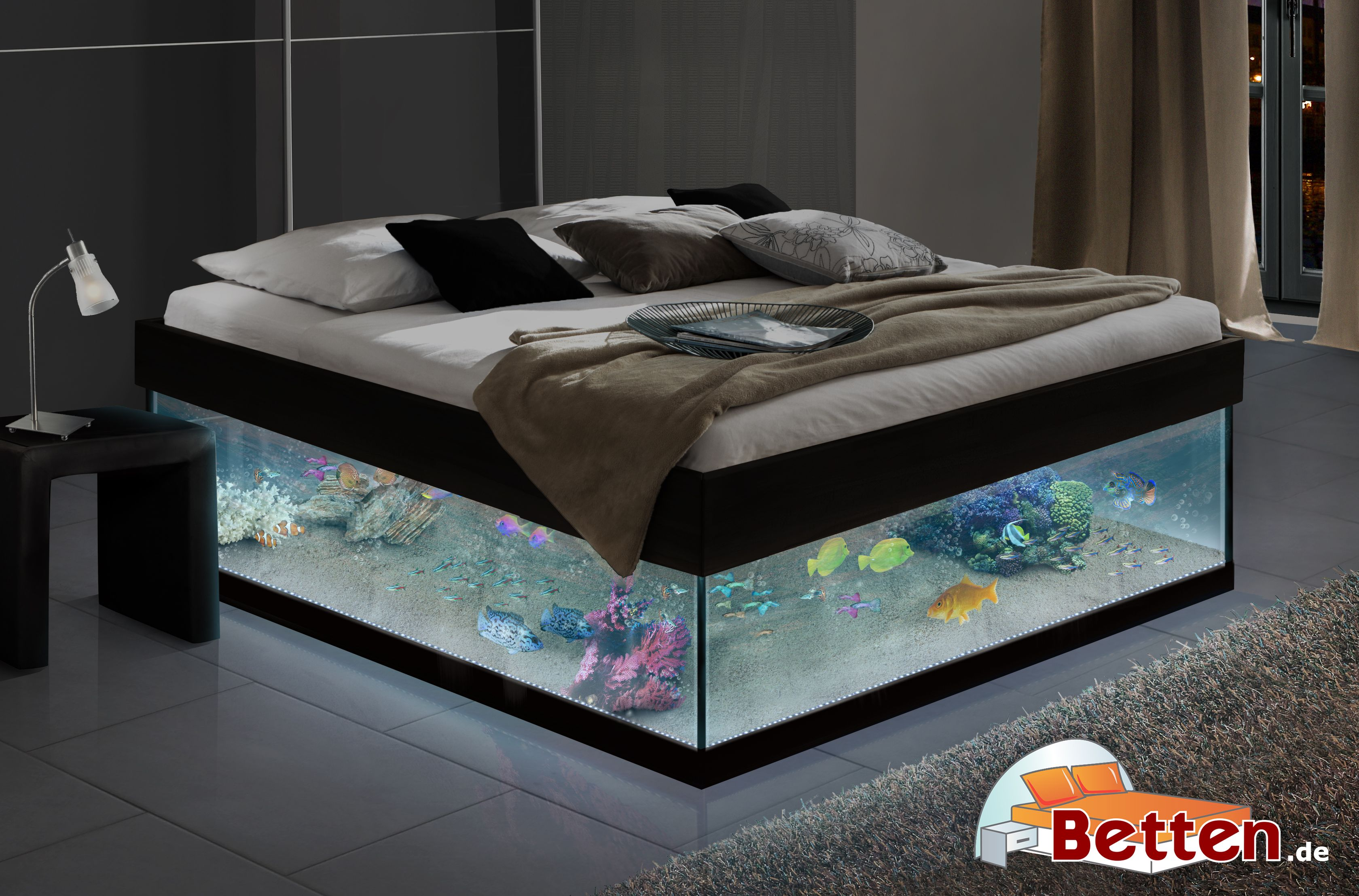 leuchtendes aquariumbett au ergew hnliche. Black Bedroom Furniture Sets. Home Design Ideas