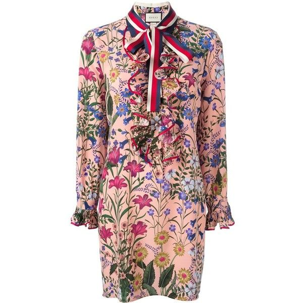 7a564bfb3 Gucci new flora print dress ($2,800) ❤ liked on Polyvore featuring dresses,  pattern dress, ruffle sleeve dress, red dress, short floral dresses and red  ...
