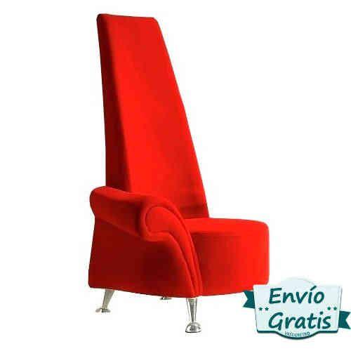 Un elegante sillon vintage aterciopelado en color rojo intenso. Un capricho con forma original, de un solo brazor http://bit.ly/1D1gbTl #decoracion #retro #hogar