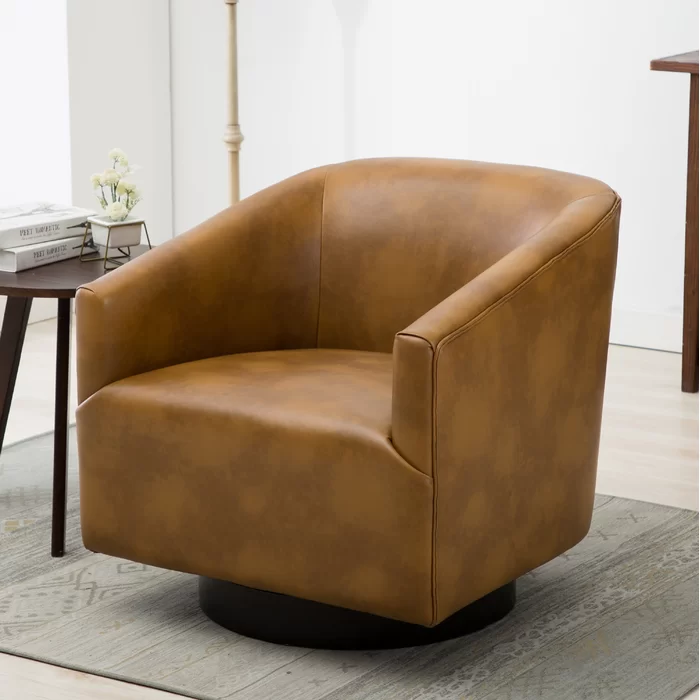 Mcintyre Swivel 22 75 W Barrel Chair Leather Side Chair Swivel Barrel Chair Barrel Chair