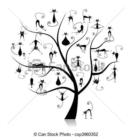 Vector - Family cats tree, 27 black silhouettes funny - stock illustration, royalty free illustrations, stock clip art icon, stock clipart icons, logo, line art, EPS picture, pictures, graphic, graphics, drawing, drawings, vector image, artwork, EPS vector art