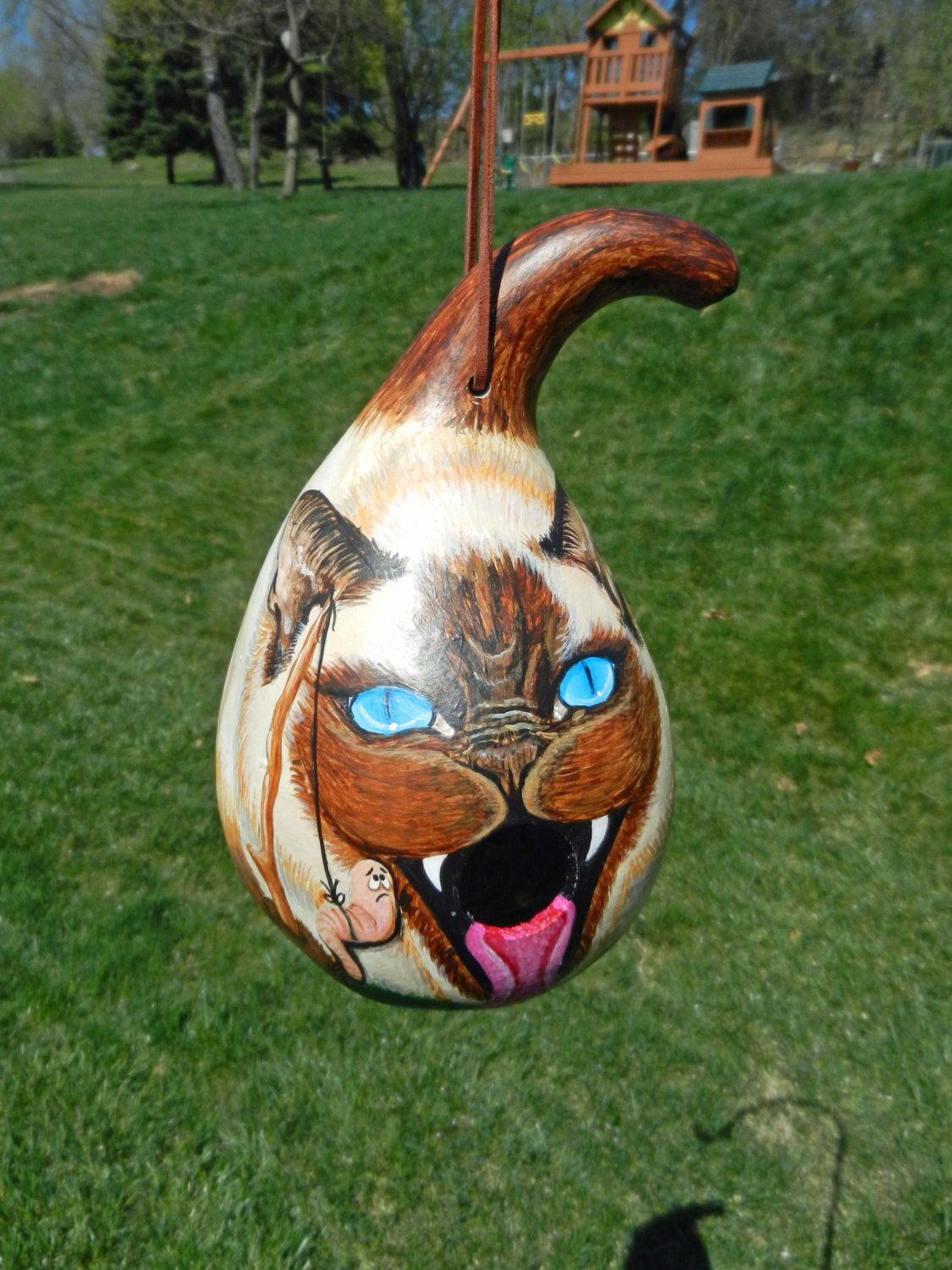 Siamese Cat Birdhouse Gourd by BostfulBits on Etsy https://www.etsy on hand decorating gourds, cat pumpkins, cat blue eyes, owl gourds, dog gourds, different gourds, flamingo gourds, cat gourd art, witch gourds, ornaments from gourds, apache gourds, cat bird houses, chicken gourds, bear gourds, primitive gourds, bird gourds, cat bird seat, funny gourds, frog gourds, cheap dried gourds,