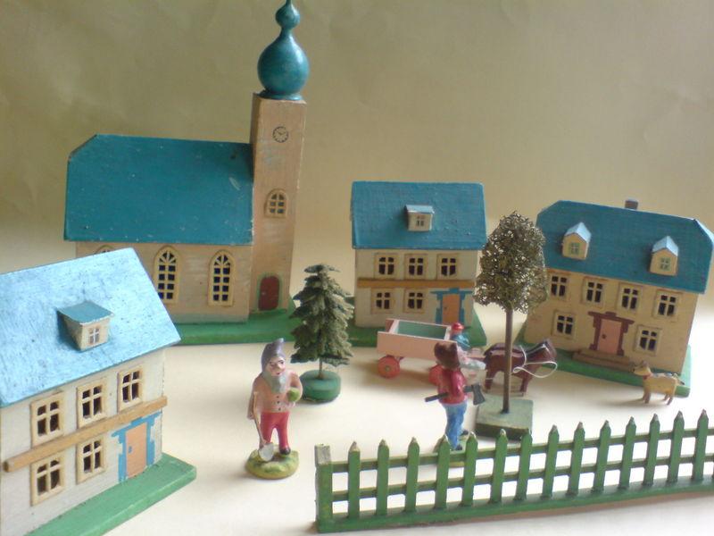 Wooden German Putz Village 1920 Days Of Yore Putz Houses Blue