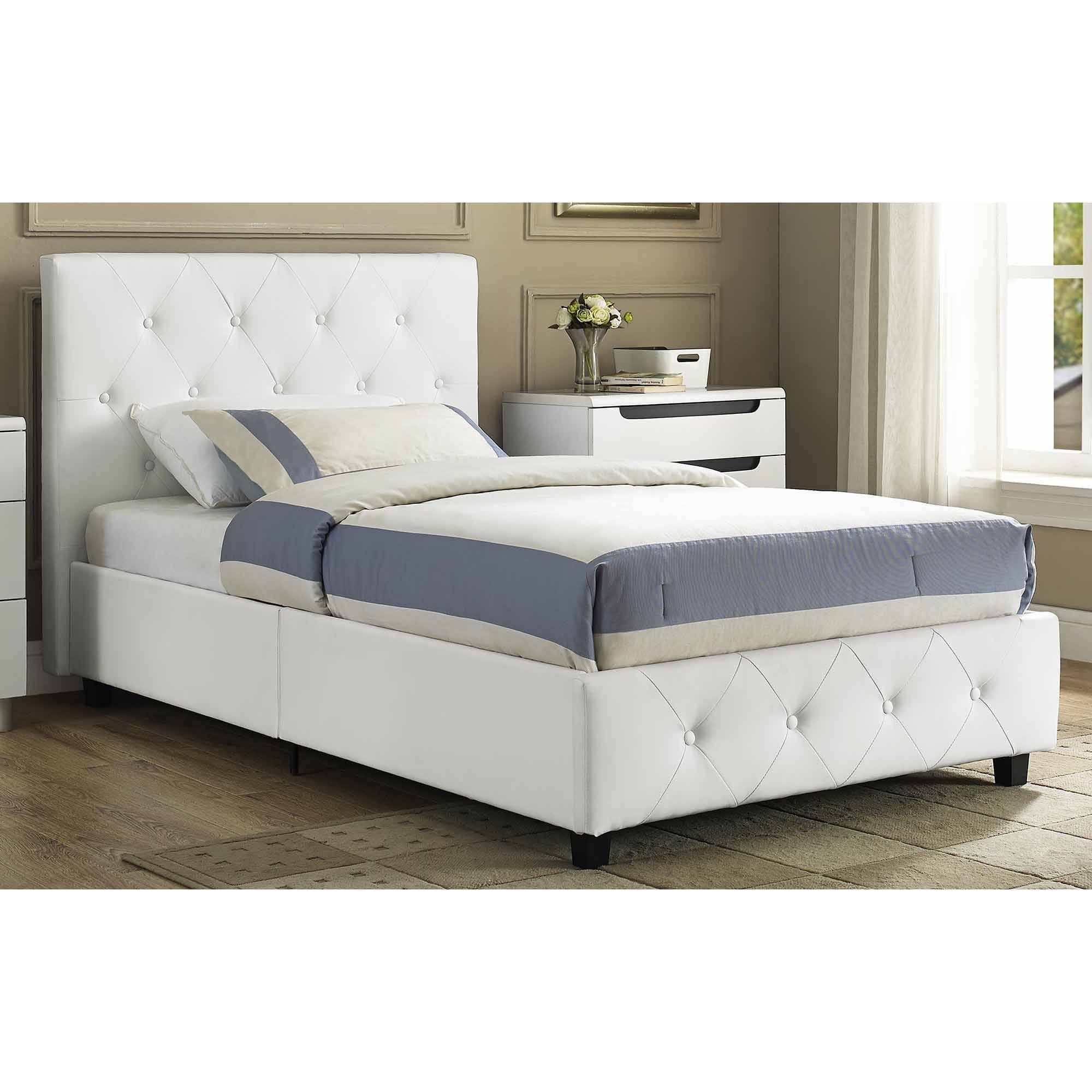 Camaflexi Twin Size Canopy Bed Mission Headboard White Finish