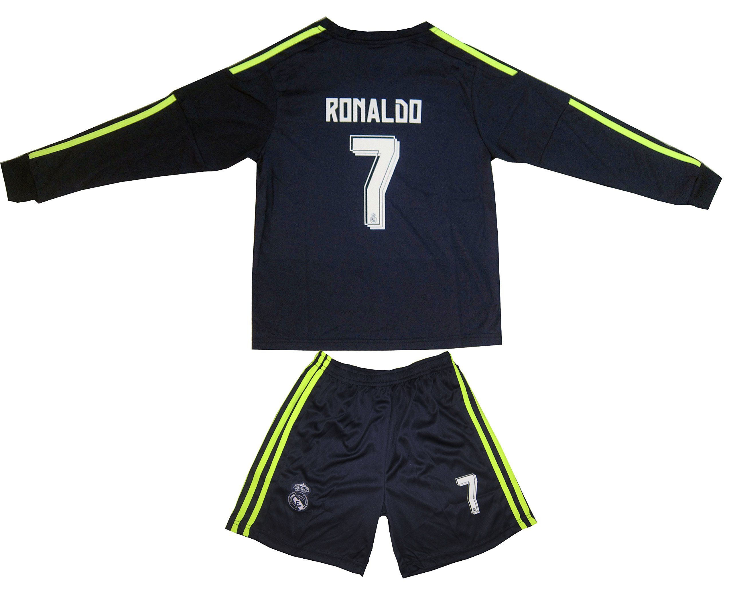 sale retailer 9c2c0 2e1c5 2015/2016 REAL MADRID #7 RONALDO KIDS AWAY NAVY LONG SLEEVE ...