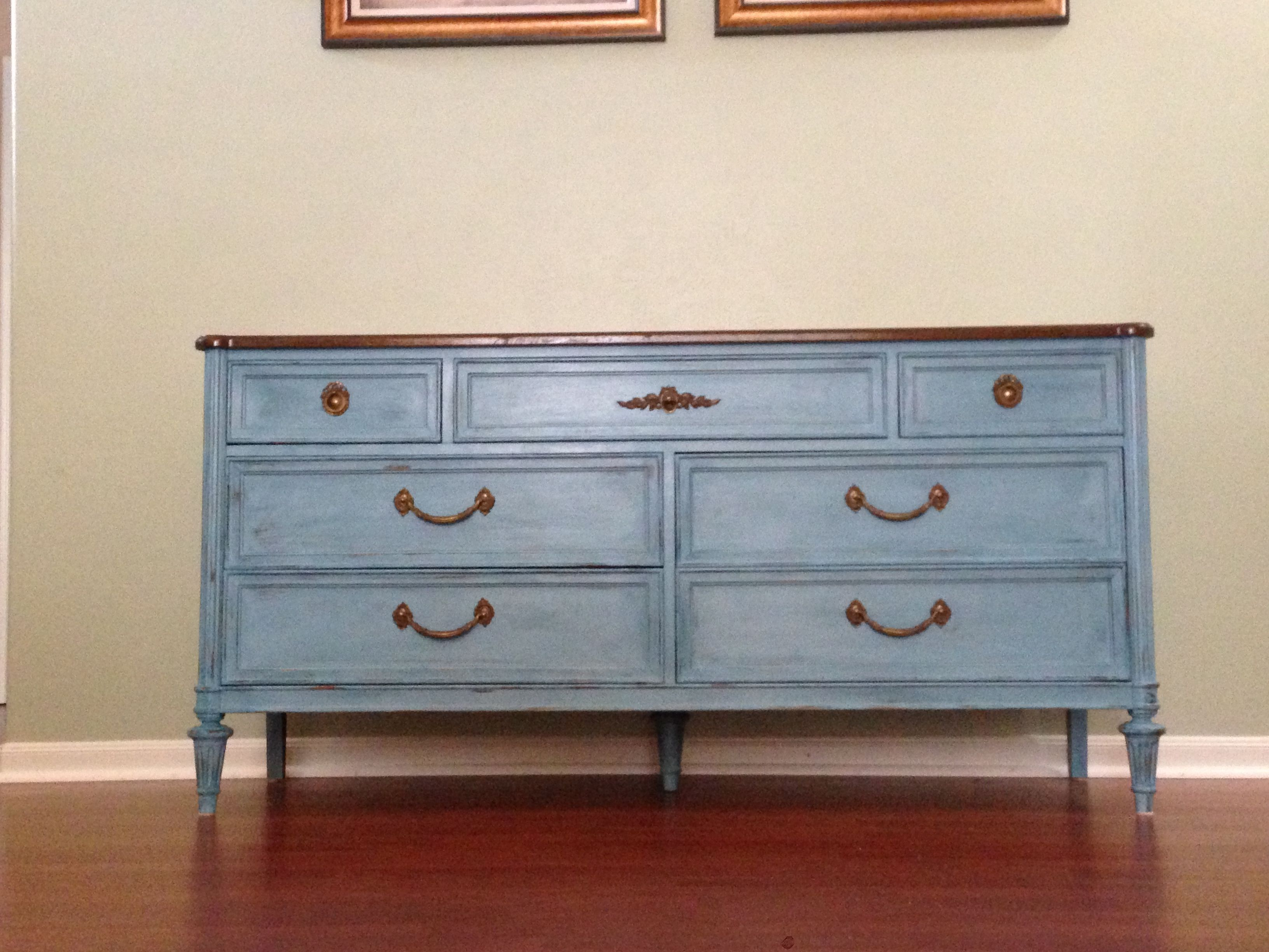 Dresser painted in blue with CeCe Caldwell's chalk paint.