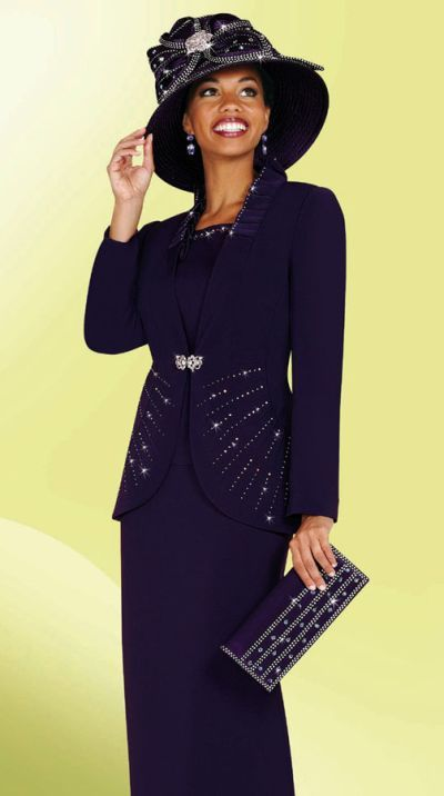women's church suits and hats | Large Size Womens Church Suits BenMarc 3pc Suit 4444 image