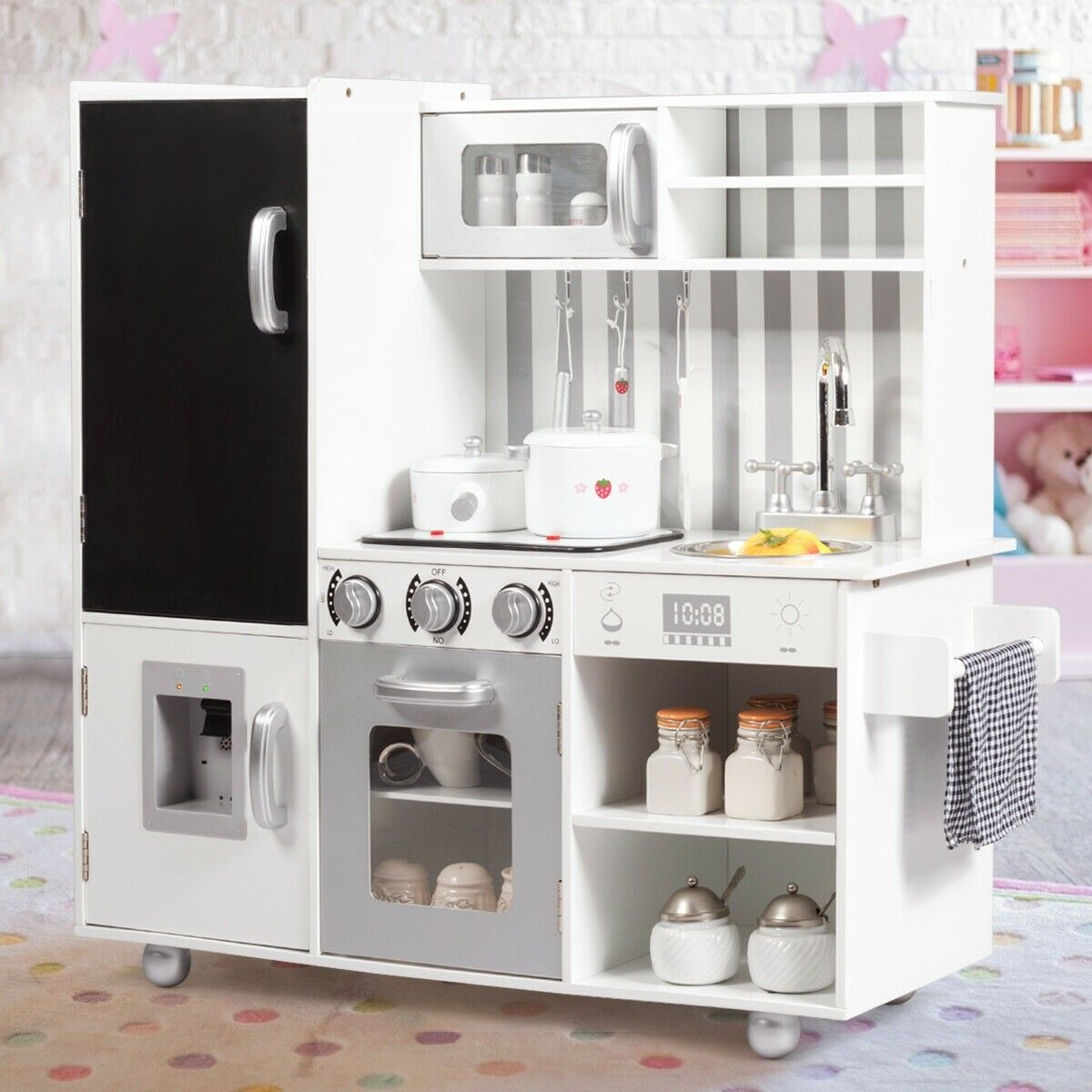 White Kids Kitchen Playset Cooking Toys Cooking Toys Kids