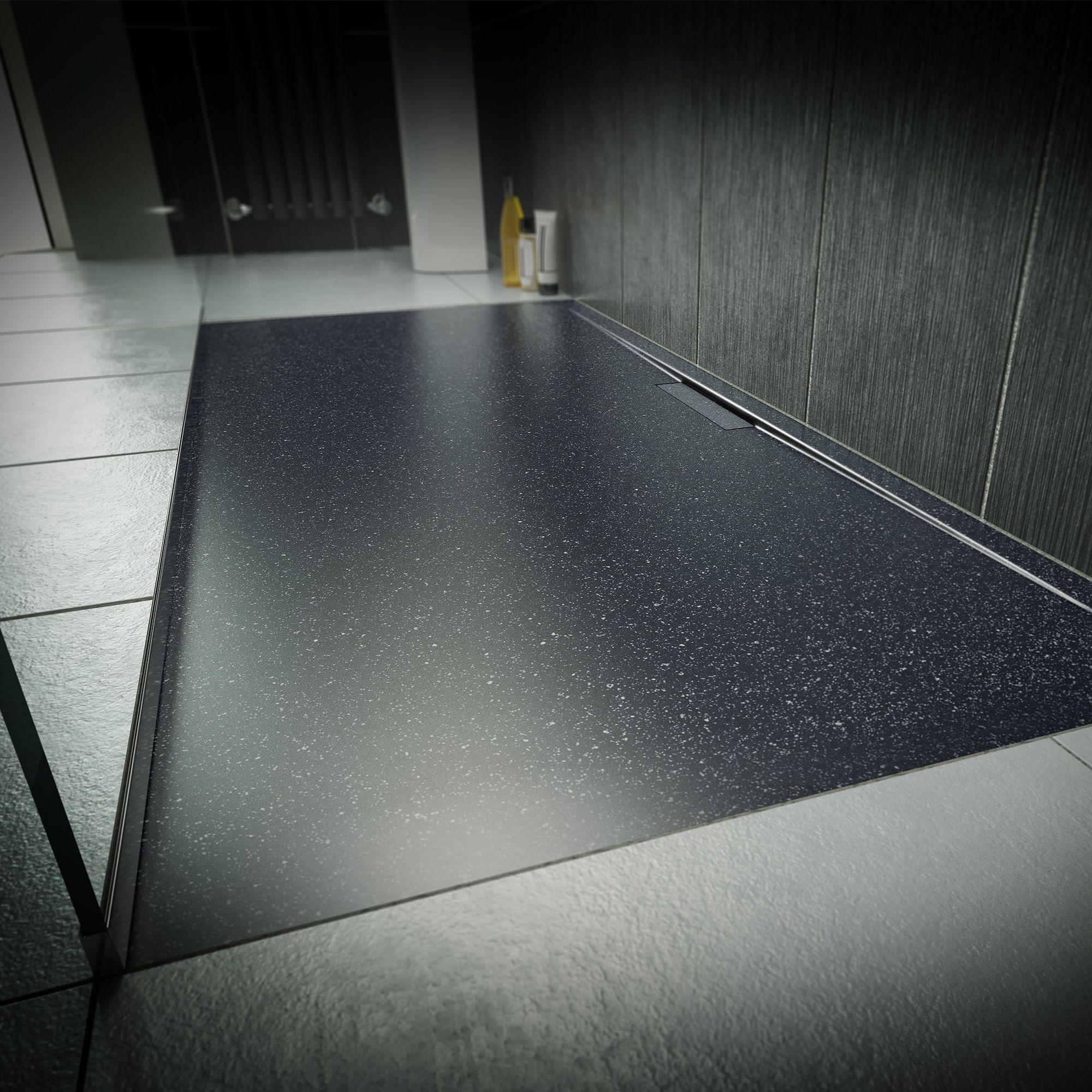 1200x800mm Luxe Ultra Slim Stone Shower Tray Hidden Waste Black Stone Shower Shower Tray