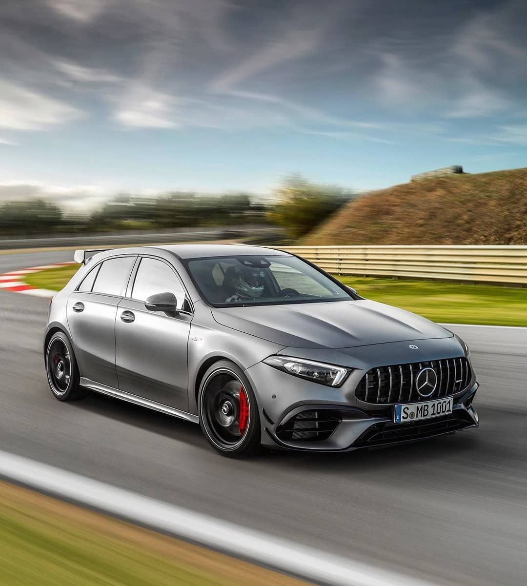 The Mercedes A45 Amg S Makes Use Of The World S Most Powerful 4 Cylinder Engine And A Drift Mode To Make It A Fun Mercedes A45 Amg A45 Amg Dream Cars Mercedes