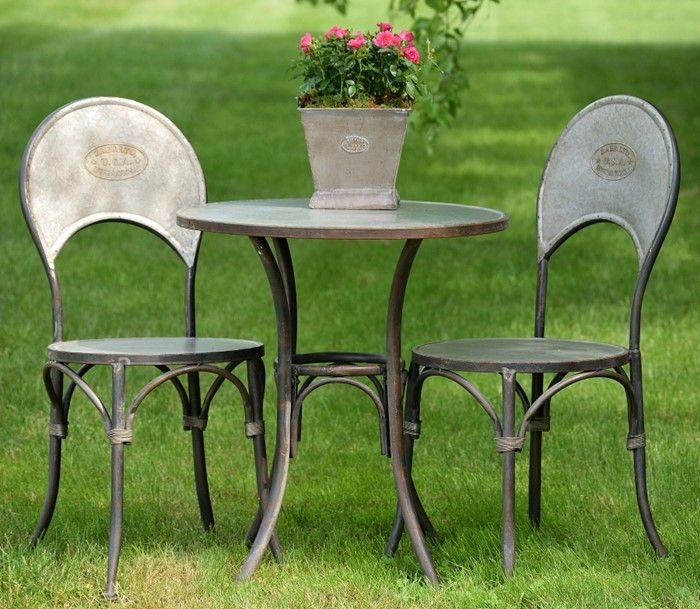 metal bistro set. Old Style Galvanized Metal Bistro Set, 1 Table And 2 Chairs \ Set