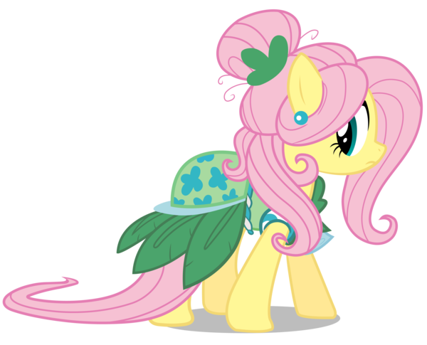 My Little Pony Friendship Is Magic Coloring Pages Fluttershy : Fluttershy's second model dress from green isn't your color ponies