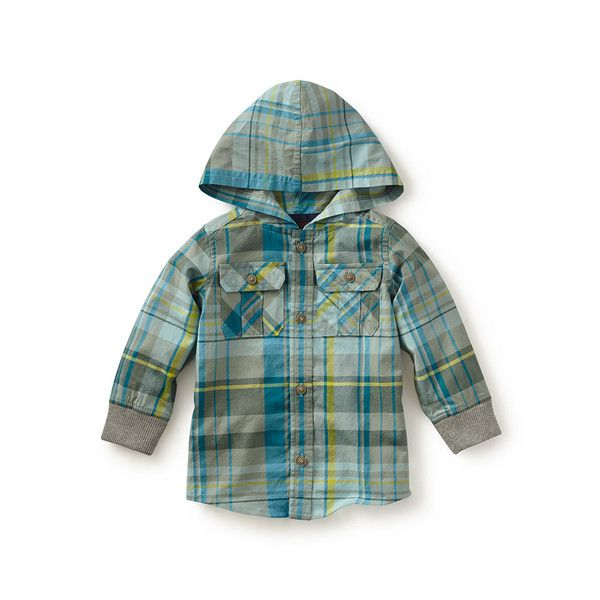 Tea Collection Salvatore Plaid Button Hoodie