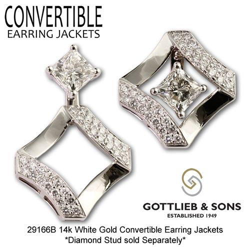 Give Your Princess Cut Studs New Life With Our Convertible Earring Jackets That Allow You To