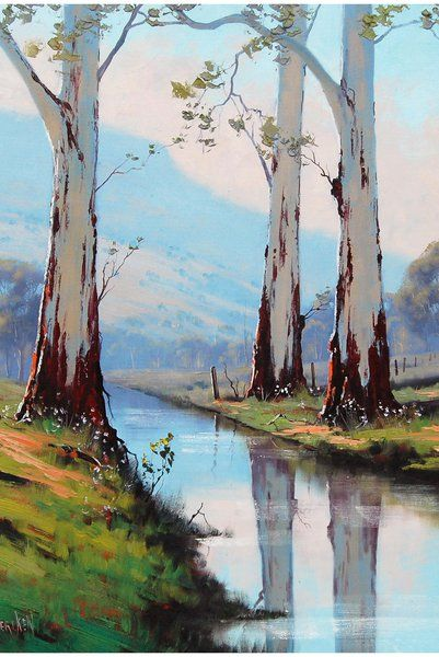 River Gums Graham Gercken By Artsaus On Deviantart Oil Painting Trees Landscape Paintings River Painting