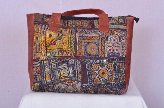 Vintage+Indian+tribal+Banjara+boho+fabric+Tote+shopping+bag+OOAK+zari+embroidered+gypsy+hand+bag+ethnic+Tote+B256+multi+color+boho