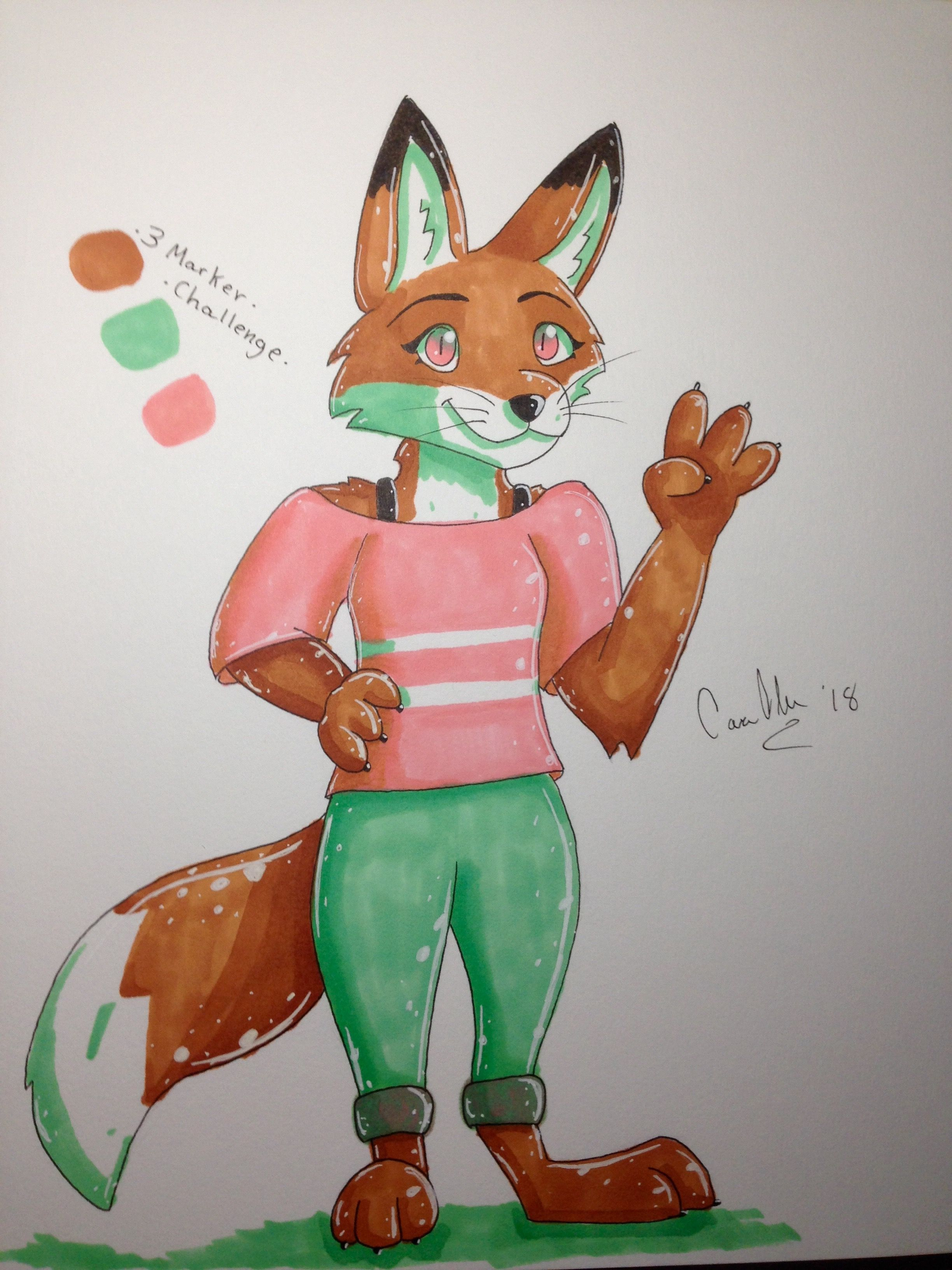 Three Marker Challenge Btw This Isn T Usually How I Draw Foxes