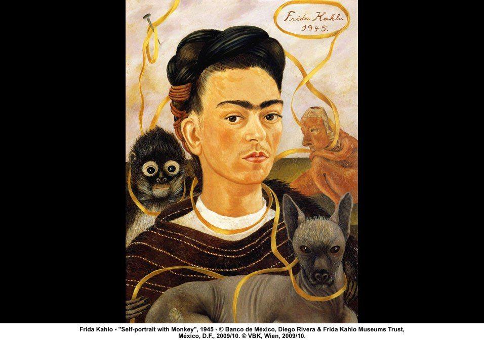 "artwork: Frida Kahlo - ""Self-portrait with Monkey"", 1945 - © Banco de México, Diego Rivera & Frida Kahlo Museums Trust, México, D.F., 2009/10. © VBK, Wien, 2009/10."