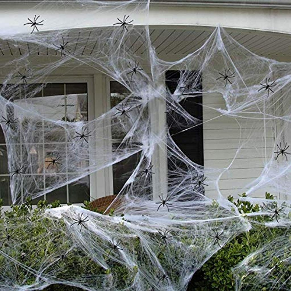 300g Halloween White Spider Web and 100 Pcs Plastic Black