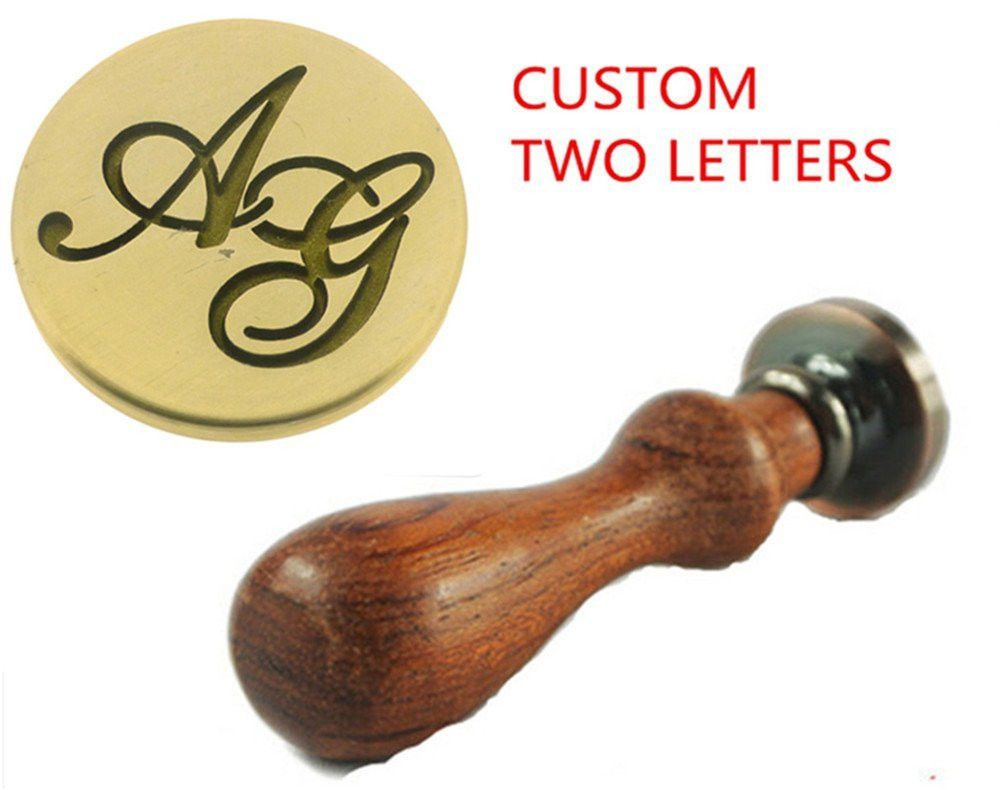 NW Custom Made 2 Letters Alphabet Initial Wax Seal Stamp Set Lover ...