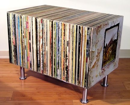 End table made from record albums.