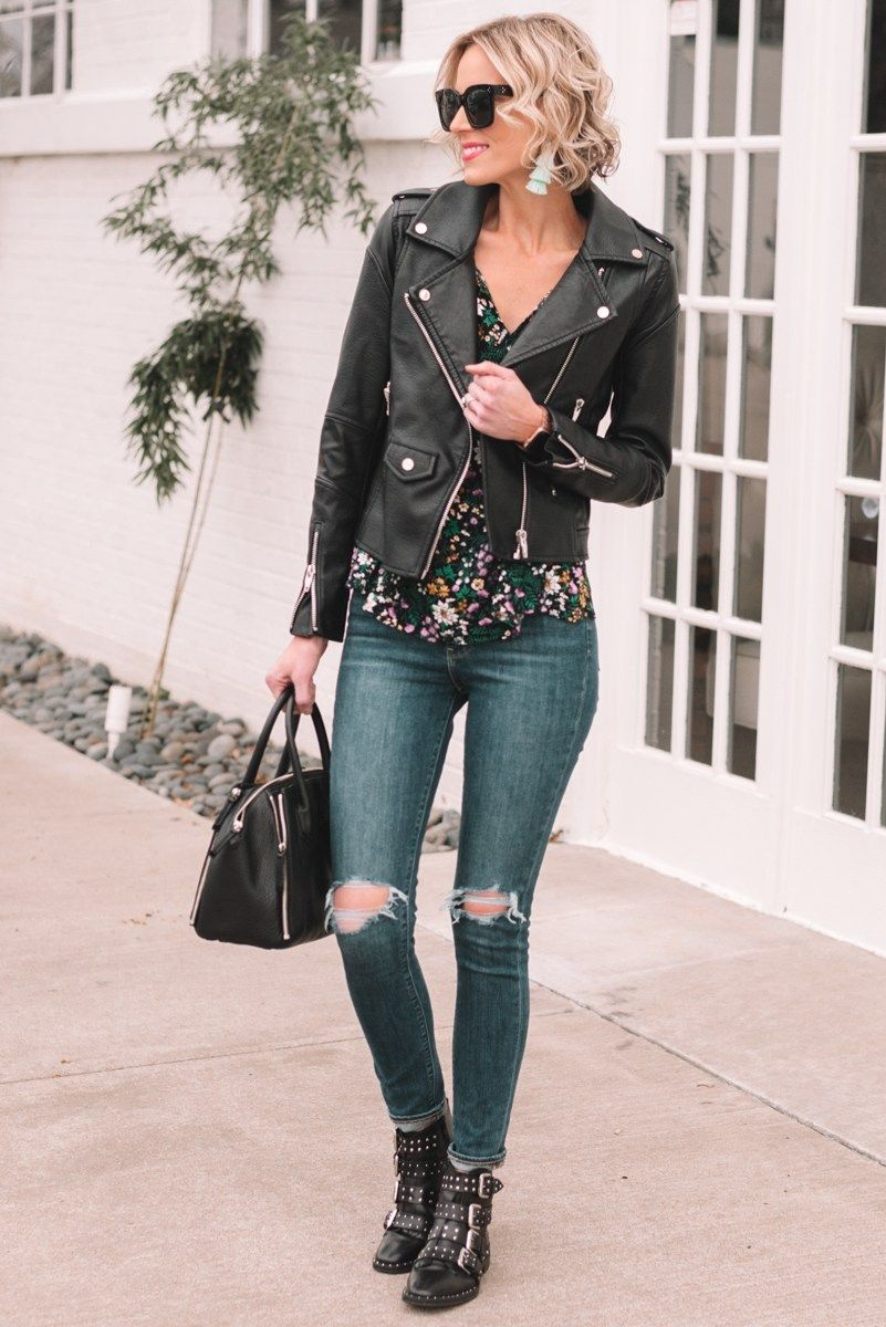 e9a327af19c floral blouse and moto jacket for spring, transitioning your wardrobe to  spring, spring outfit ideas, spring jackets, light jackets for spring  #springoutfit ...