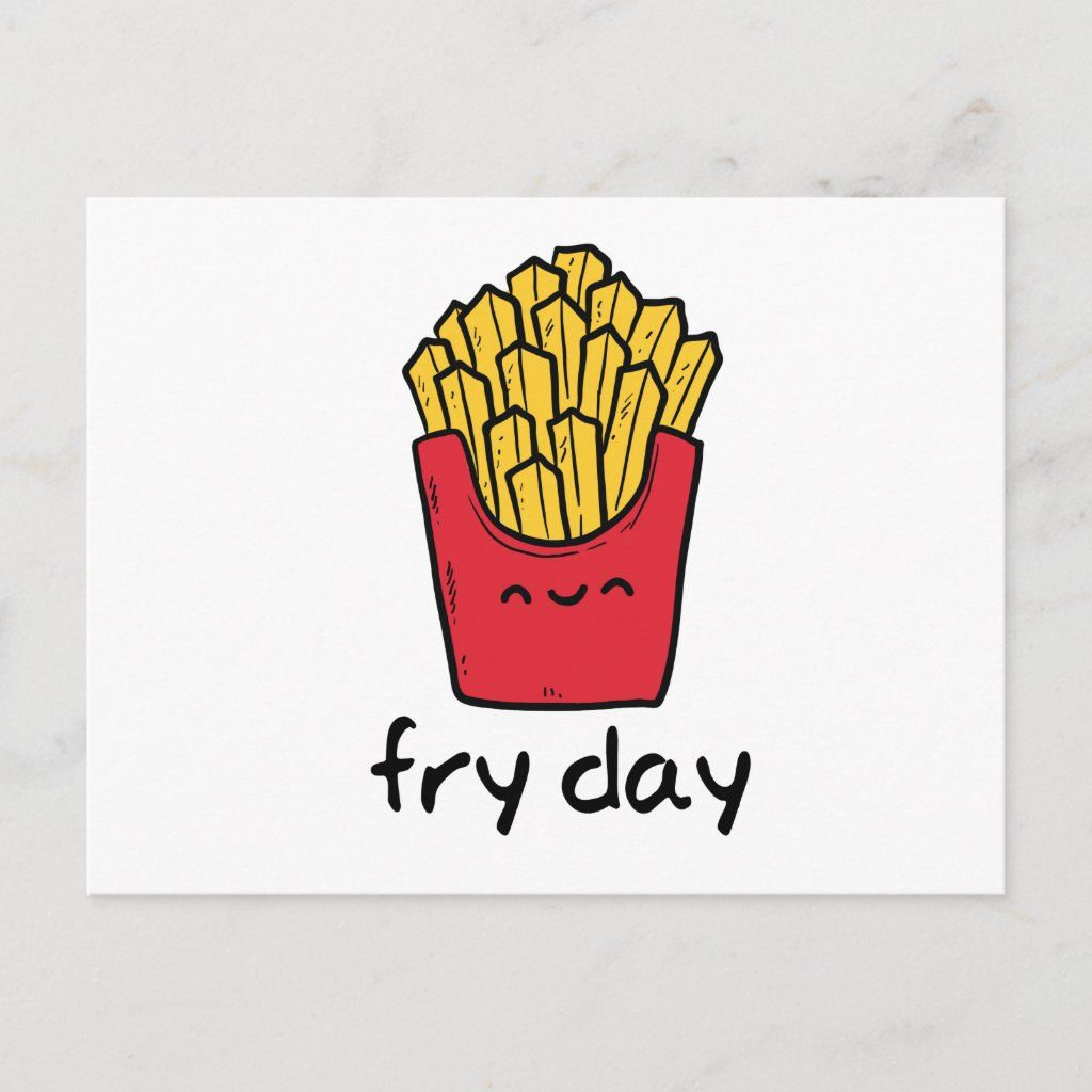 Funny Pun Friday Happy French Fries Cartoon Postcard Zazzle Com In 2021 Funny Puns Fries French Fries
