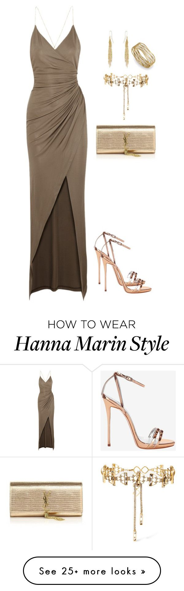 """Hanna Marin Prom Ispo"" by rosewoodangel on Polyvore featuring Giuseppe Zanotti, Balmain, Yves Saint Laurent, Erickson Beamon and Natasha Collis"