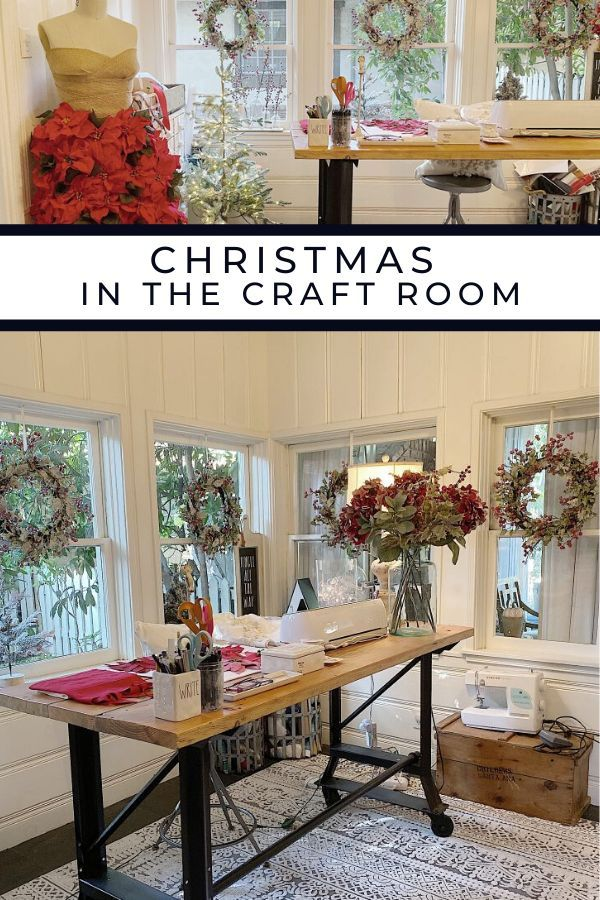 Christmas in the Craft Room | My 100 Year Old Home Decorating for Christmas in the craft room is really important to me. That's because it's the place where I do all of my Christmas crafts and wrap all my gifts! #christmas #christmashomedecor #deckthehalls #christmashomedecorations #christmashome #christmasdecorating #christmashome  #diychristmas #christmasfarmhouse #christmasdiningroom #farmhouse #farmhousestyle #modernfarmhouse #realfarmhouse #myhousebeautiful #hgtv #my100yearoldhome