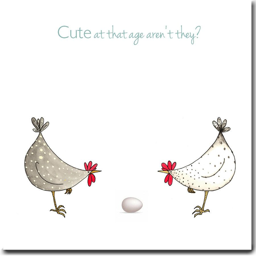 Cute At That Age Greeting Card – New Baby Card, New Parents Card, Expecting Card, Blank Inside, Chickens