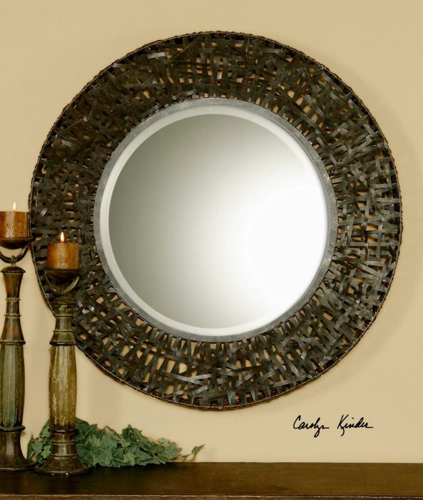 """Uttermost Alita Woven Metal Mirror. This striking mirror features a metal frame with black woven metal details and a mirror with a generous 1 1/4"""" bevel. Perfect for your entry, dining room or living room."""