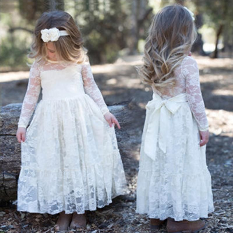Long Sleeve See Through Cute Ivory Lace Flower Girl