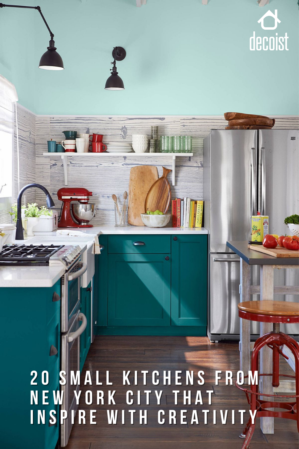 20 Best Small Kitchens From New York City That Inspire With Creativity In 2021 Kitchen Remodel Teal Kitchen Kitchen Inspirations