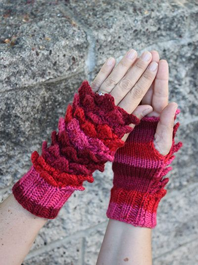 Knitting Pattern for Crocodile Stitch Mitts - This pattern includes ...