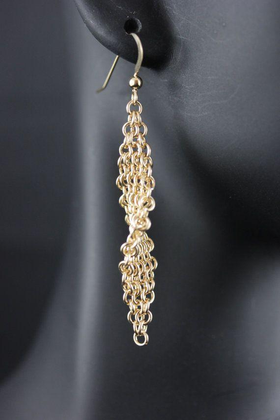 14K oro lleno o pendientes de plata esterlina cadena Maille, Trinidad de la armadura