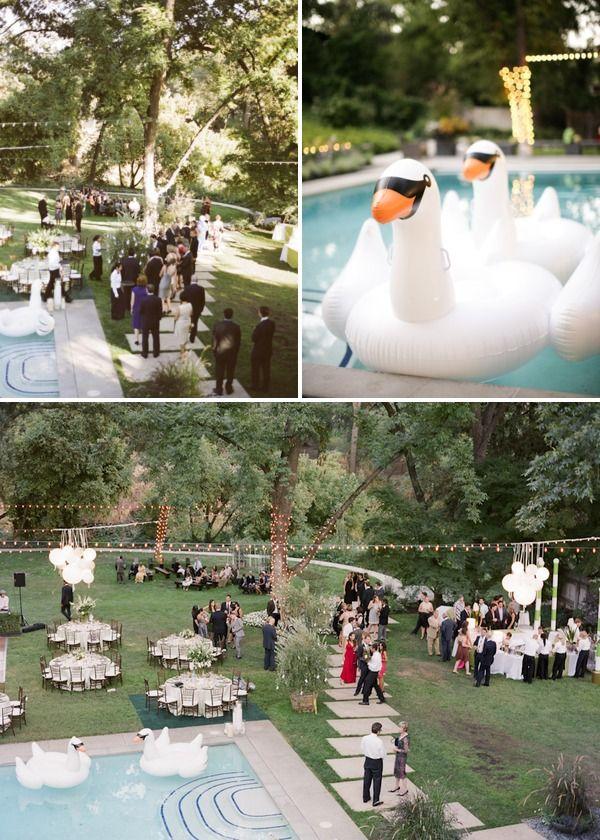 Backyard Wedding By Gia Canali Ii Style Me Pretty Backyard Wedding Pool Pool Wedding Backyard Wedding Ceremony