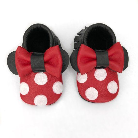 575a9e714b983 Minnie Mouse Baby Toddler Moccs Moccasins Shoes Booties Baby Shower ...