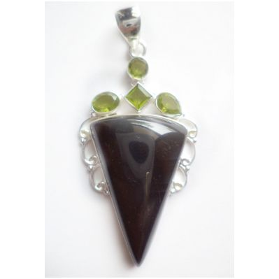Buy Handmade .925 Sterling Silver Pendant NATURAL BALCK STONE WITH PERIDOT without Chain by undefined, on Paytm, Price: Rs.232?utm_medium=pintrest