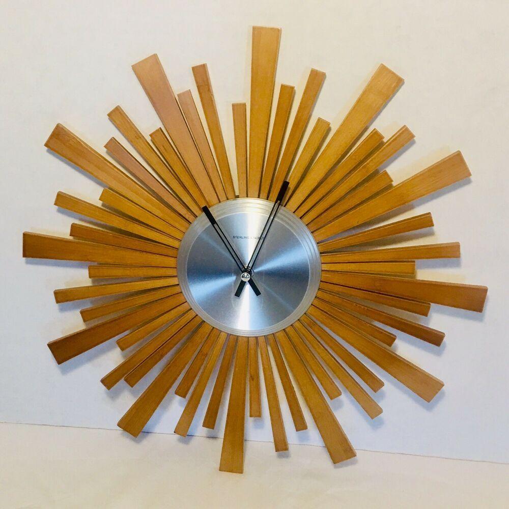 Sterling Noble Sunburst Starburst Atomic Mid Century Modern Wall Clock Teak Wood Ebay Mid Century Modern Wall Clock Wall Clock Modern Clock