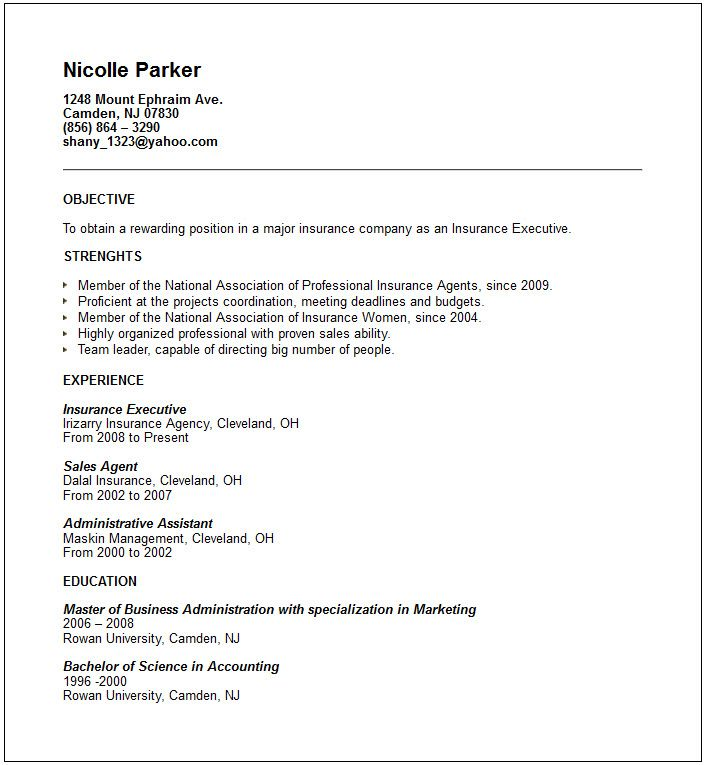 executive resume example help you to write a professional resume - insurance resume objective