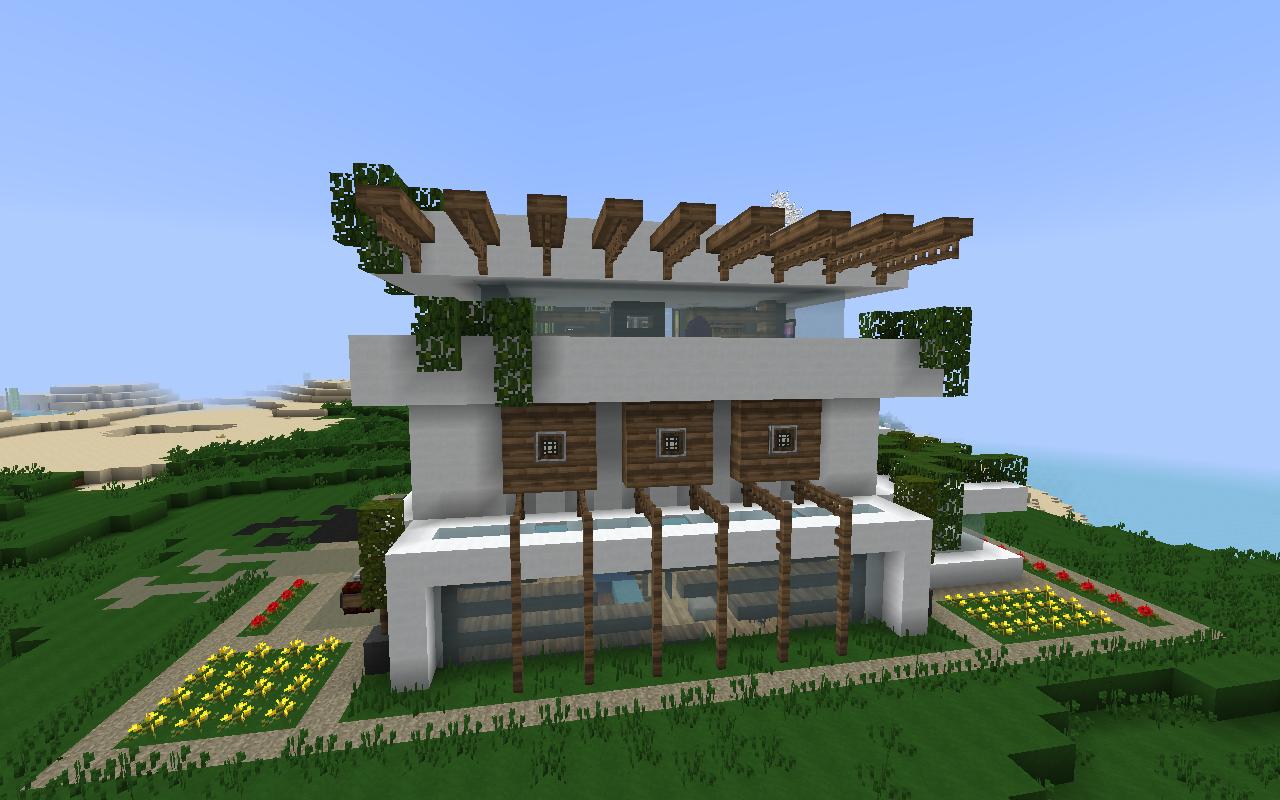 Modern Nature Minecraft House Design Modern Minecraft Houses Minecraft Modern House In Nature