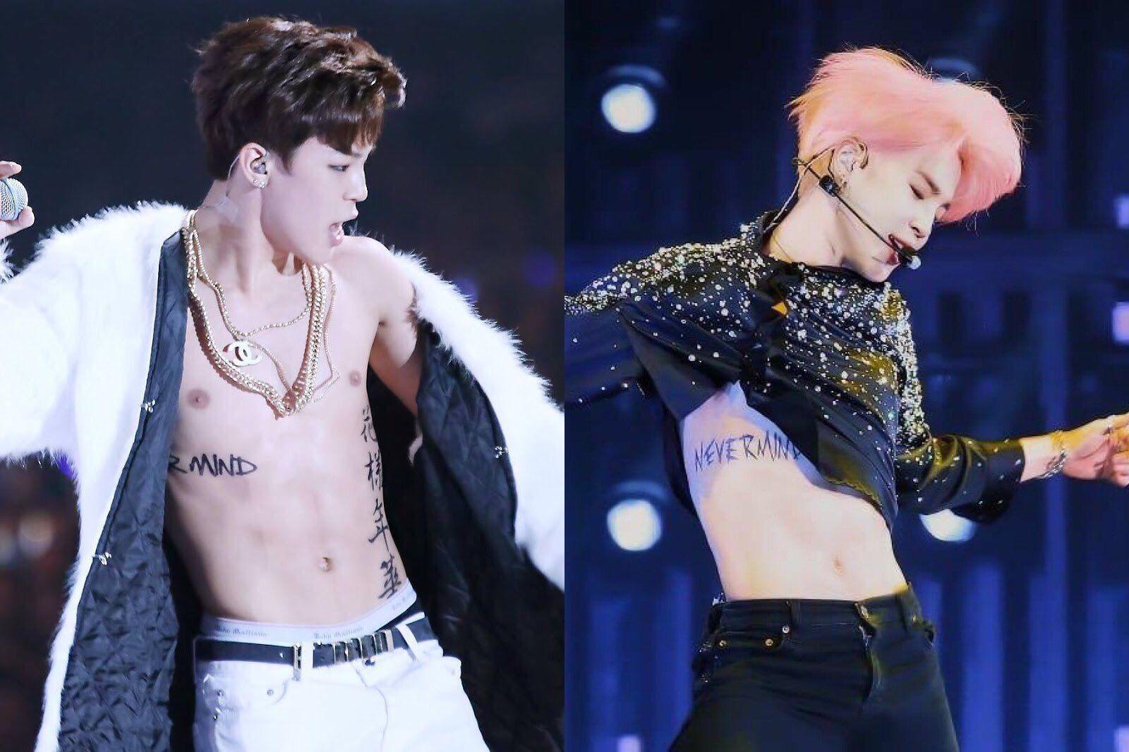 Jimin ★*° BTS NEVERMIND tattoo then and now Jimim, Tatoo