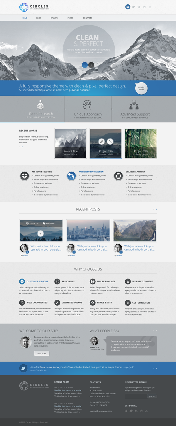A Very Simple Straightforward Website Layout With Clean Details Circles Psd Template By Dan Ambrosevich Web Layout Design Web Development Design Web Design