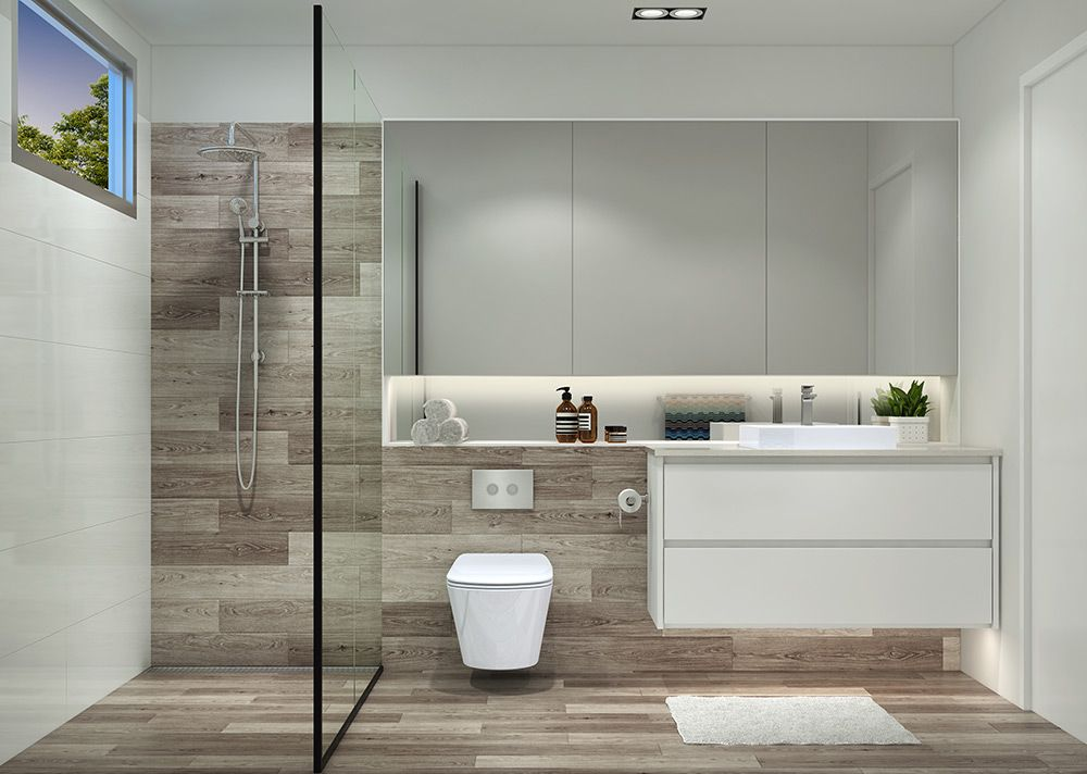 Ensuite Bathroom Facilities en-suite configuration inspiration, with shower window. | house