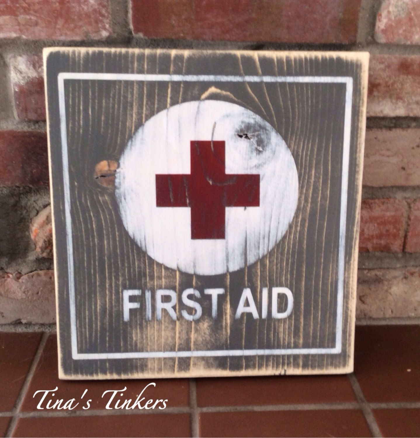Vintage first aid painted wood sign. First aid station. Bathroom ...