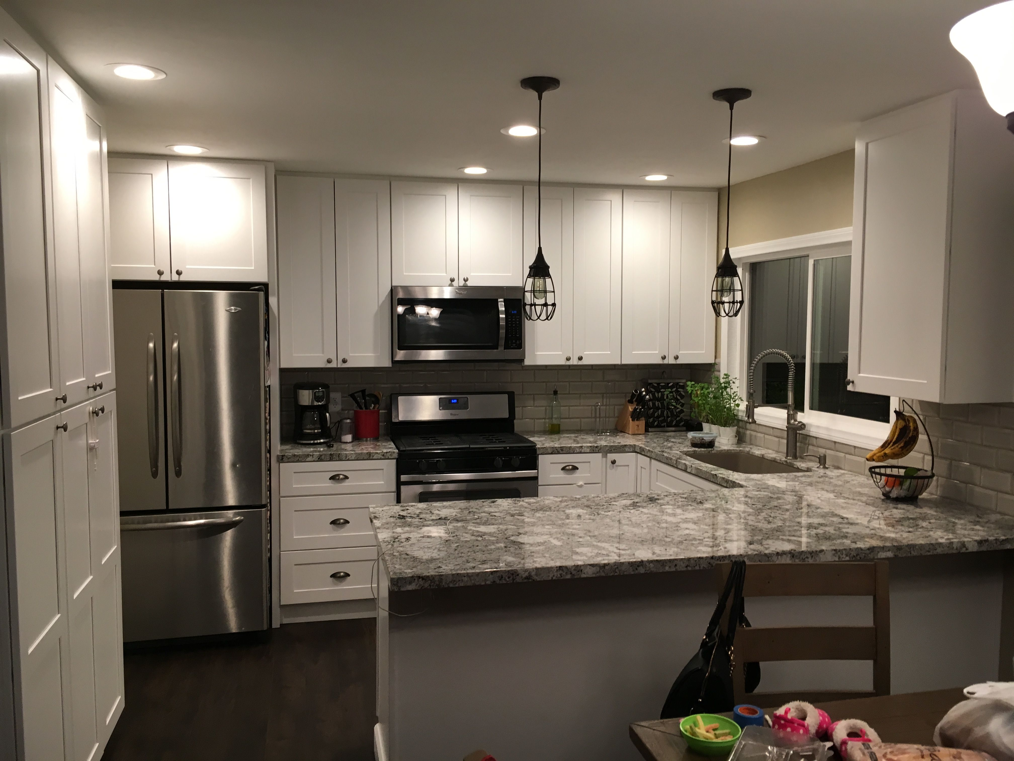 Kitchen Remodel Lennon Granite, White Shaker Cabinets, Subway Tile, Arizona  Tile, Blackstone