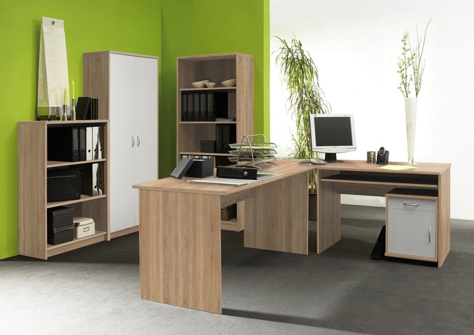 BüromöbelSet OFFICE COMPACT Sonoma Eicheweiß ein